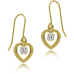 Icz Stonez 14k Gold Cubic Zirconia Heart Earrings