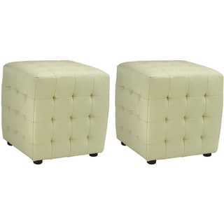 Safavieh Kristof Off White Bicast Leather Ottomans (Set of 2)