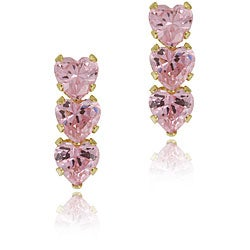 ICZ Stonez 14k Gold Pink Cubic Zirconia Triple Heart Earrings