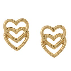 Mondevio 14k Yellow Gold Double Heart Stud Earrings
