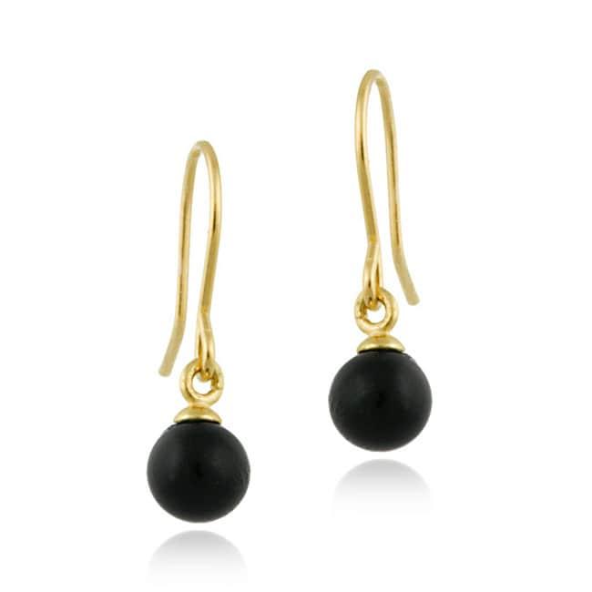 Mondevio 14k Gold Onyx Dangle Earrings