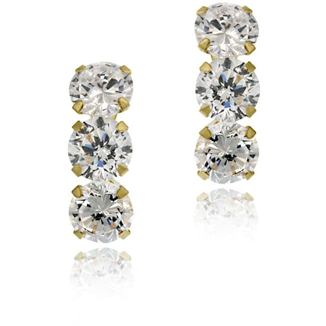 Icz Stonez 14k Gold Cubic Zirconia Triple Stud Earrings