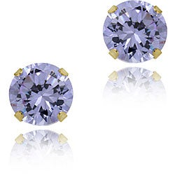 Mondevio 14k Gold Cubic Zirconia Round Lavender Stud Earrings