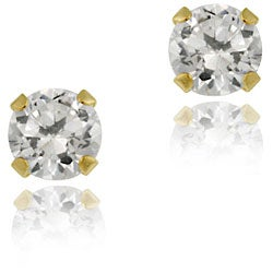 Icz Stonez 14k Gold 3-mm Round Cubic Zirconia Stud Earrings
