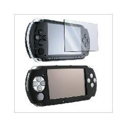 Black Silicone Skin Case + LCD Screen Protector for SONY PSP 3000