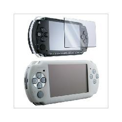 White Silicone Skin Case + Screen Guard for Sony PSP 3000 2000