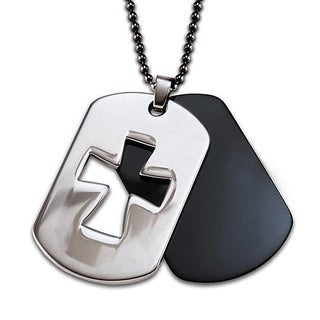 Crucible Stainless Steel Two-piece Laser Cutout Cross Dog Tag Necklace