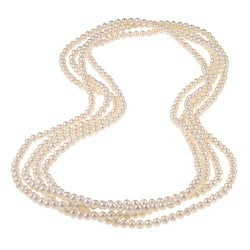 DaVonna White FW Pearl 100-inch Endless Necklace (5-6 mm)