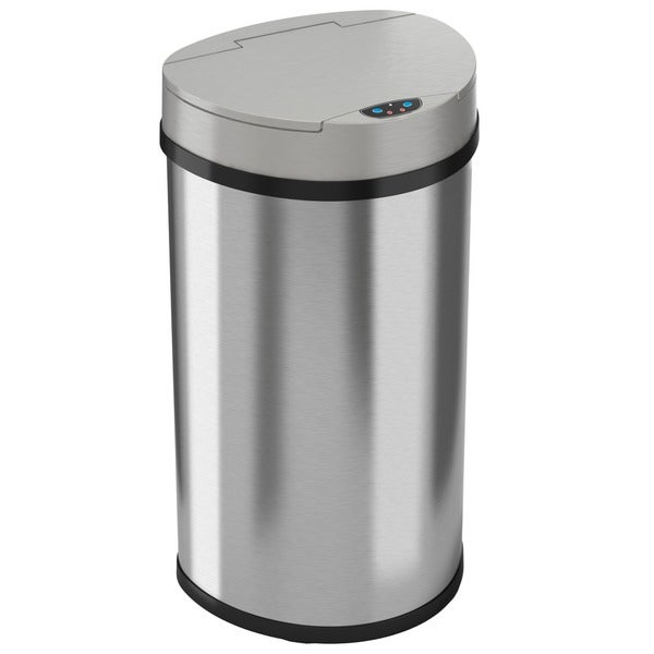 iTouchless Semi-Round Space-saving Wide Opening 13-gallon Trash Can 5792884