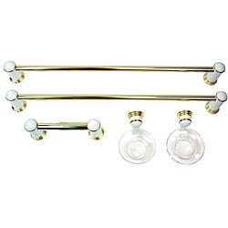 Moen 5-piece Milano White/ Brass Bath Accessory Kit