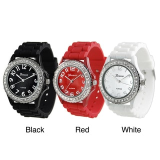Geneva Women's Platinum CZ Accented Silicone Link Watch