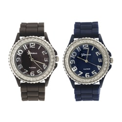 Geneva Women's Platinum CZ Accent Rubber Strap Watch