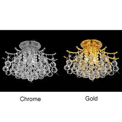 Lead Crystal Ball Flush Mount Ceiling Chandelier