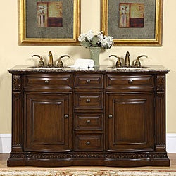 Silkroad Exclusive Orinda Double Sink Bathroom Vanity