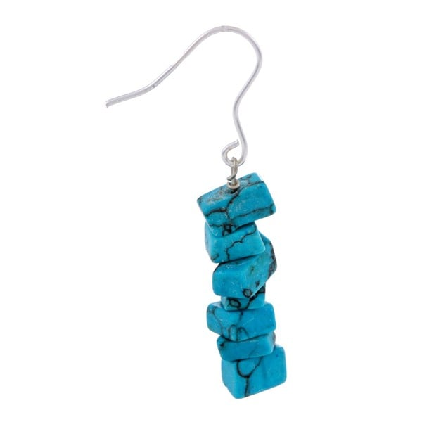 Glitzy Rocks Sterling Silver Turquoise Chip Dangle Earrings