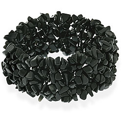 Glitzy Rocks Black Onyx Chip Multi-row Stretch Bracelet