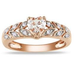 Miadora 10k Pink Gold Morganite and Diamond Accent Ring