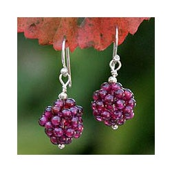 Stainless Steel 'Berries' Garnet Cluster Earrings (Thailand)