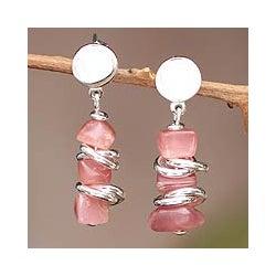 Sterling Silver 'Dawn Sky' Rhodochrosite Dangle Earrings (Peru)