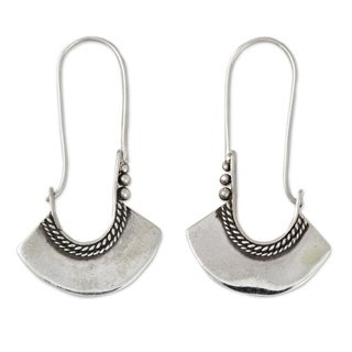 Handcrafted Sterling Silver Hollow Bell Delicate Hoop Style Earrings (Thailand)