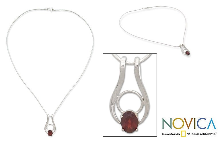 Sterling Silver 'Angel of Love' Garnet Necklace (India)