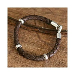 Silver 'Bold Brown' Braided Leather Bracelet (Peru)