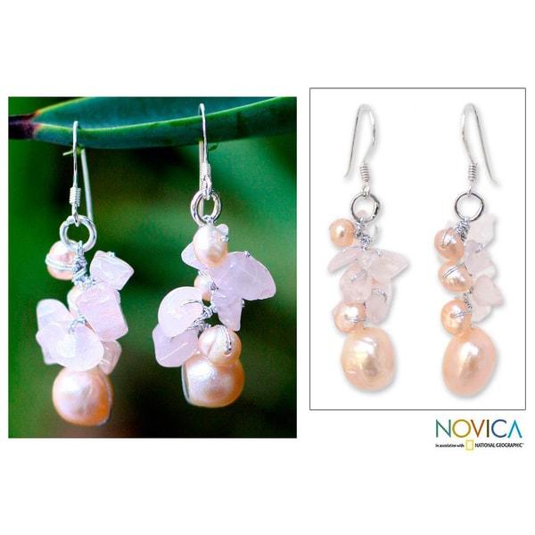 Silver 'Cloud Bouquet' Pearl/ Rose Quartz Earrings (Thailand)