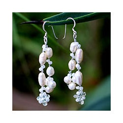 Sterling Silver 'Whisper' Pearl Waterfall Earrings (Thailand)