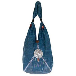 Cotton 'Elephant Blues' Shoulder Bag (Thailand)