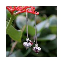 Silver 'Impassioned Hearts' Garnet Drop Earrings (Thailand)