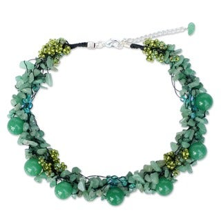 Sterling Silver 'Gushing Green' Beaded Necklace (Thailand)