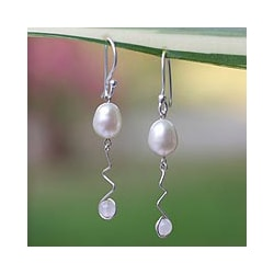 Silver 'Creation' Pearl and Rose Quartz Earrings (Thailand)
