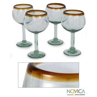 Set of 4 Blown Glass 'Amber Globe' Wine Glasses (Mexico)