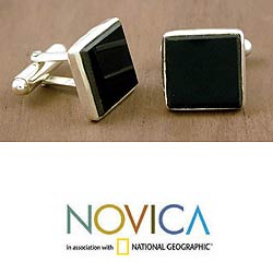 Sterling Silver 'Midnight Harlequin' Onyx Cuff Links (India)