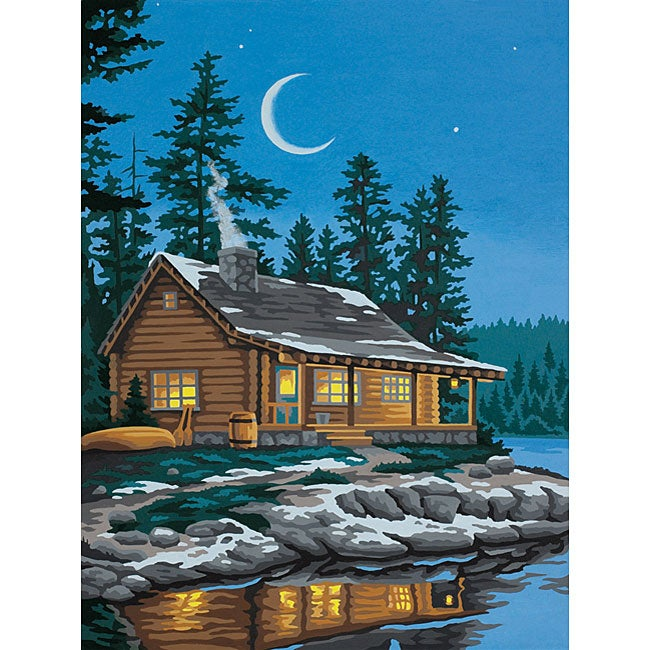 """Paint by Number 'Lakeside Cabin' 12"""" x 9"""" Kit"""