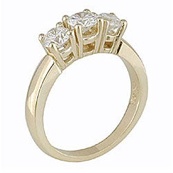 Miadora 14k Gold 1ct TDW Round Diamond 3-stone Ring (H-I, I1-I2)