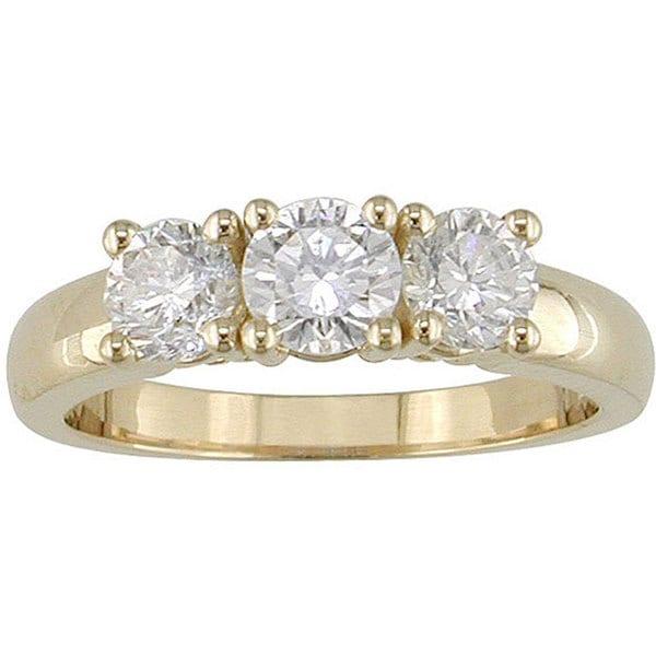 Miadora 14k Gold 1ct TDW Round Diamond 3-stone Ring (H-I, I1-I2)