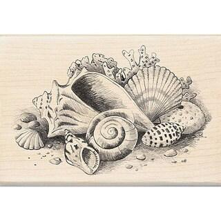 Inkadinkado Wood-mounted 'Seashells Still Life' Rubber Stamp