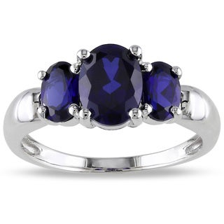 M by Miadora Sterling Silver Created Sapphire 3-stone Ring