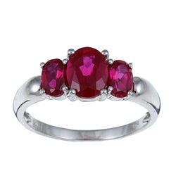 Miadora Sterling Silver Created Ruby 3-stone Ring