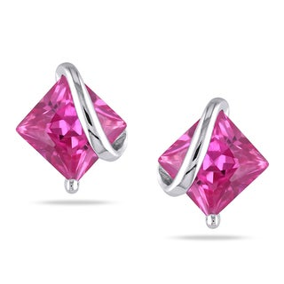 M by Miadora Sterling Silver Created Pink Sapphire Earrings