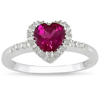 Miadora Sterling Silver Created Ruby and 1/10ct TDW Diamond Ring (J-K, I3) with Bonus Earrings