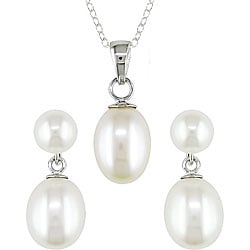 Miadora Sterling Silver White Pearl Earring and Necklace Set