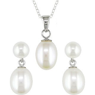 M by Miadora Sterling Silver White Pearl Earring and Necklace Set