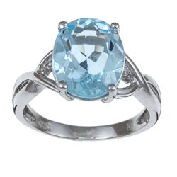 Miadora Sterling Silver Blue Oval Topaz and Diamond Accent Ring