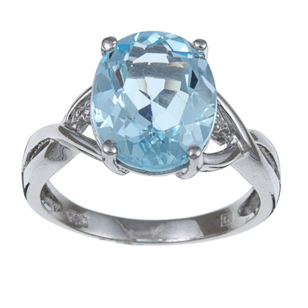 miadora sterling silver blue oval topaz and accent