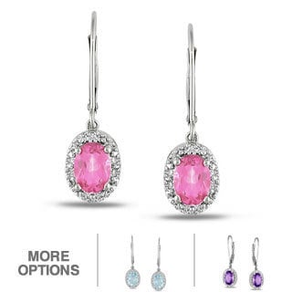 Miadora Sterling Silver Gemstone and Diamond Accent Earrings