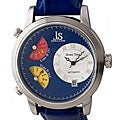 Joshua & Sons Men's Blue Automatic Triple Time Zone Watch