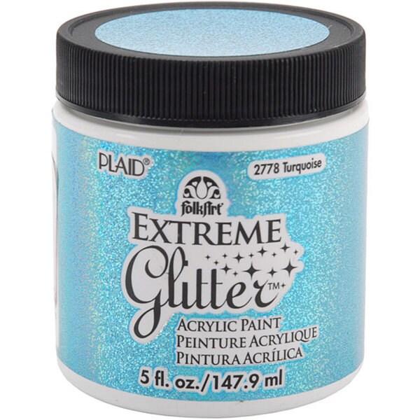 Folk Art Extreme 5-oz Turquoise Glitter Paint