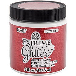 Folk Art Extreme 5-oz Red Glitter Paint